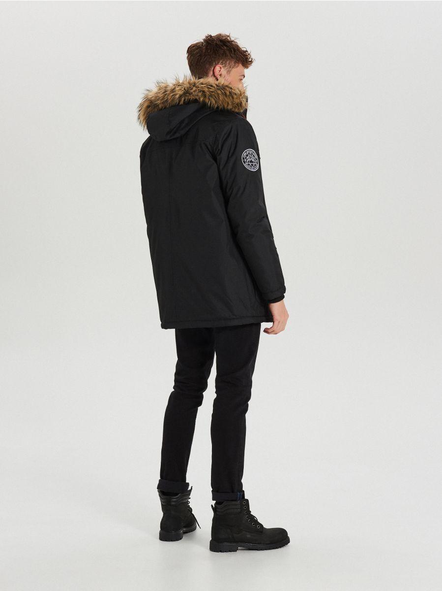 Zimná bunda s kapucňou - Čierna - WA084-99X - Cropp - 9