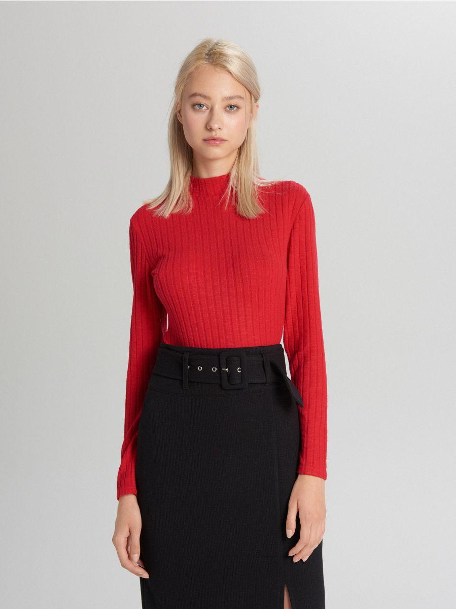 Rebrovaný sveter - Červená - WB902-33X - Cropp - 2