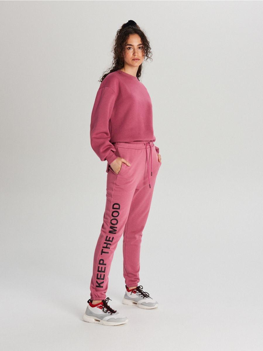 Teplákové nohavice s nápisom - Oranžová - WC046-28X - Cropp - 1