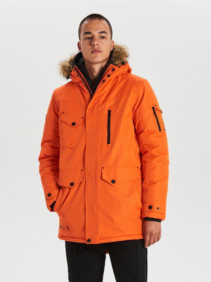 Teplá bunda s kapucňou z umelej kožušiny - Oranžová - WC156-22X - Cropp - 1