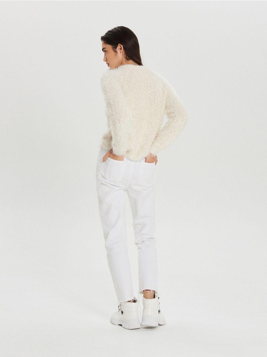 Huňatý sveter - Krémová - WC870-01X - Cropp - 5
