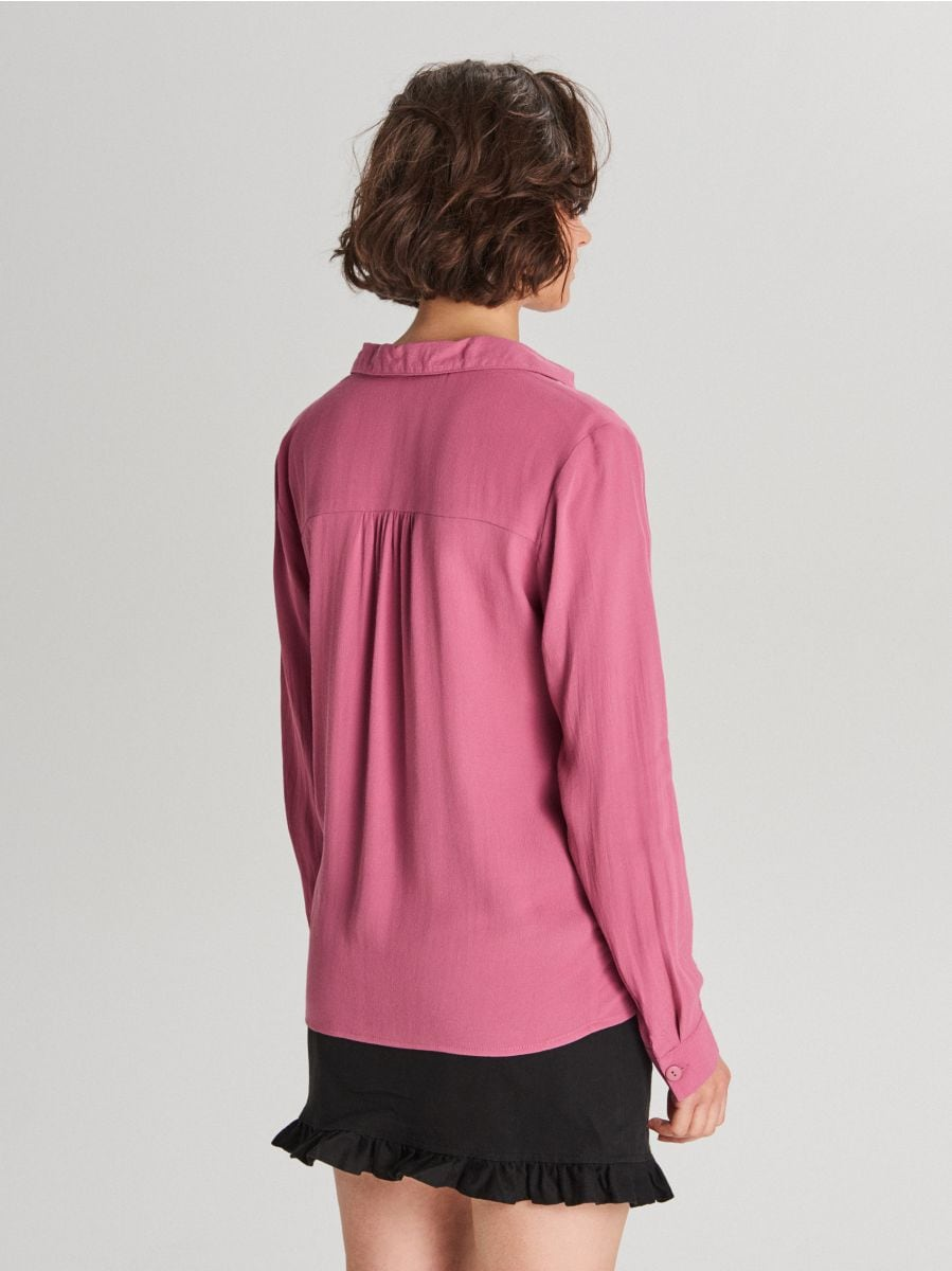 Košeľa s hlbokým výstrihom - Purpurová - WF707-34X - Cropp - 3