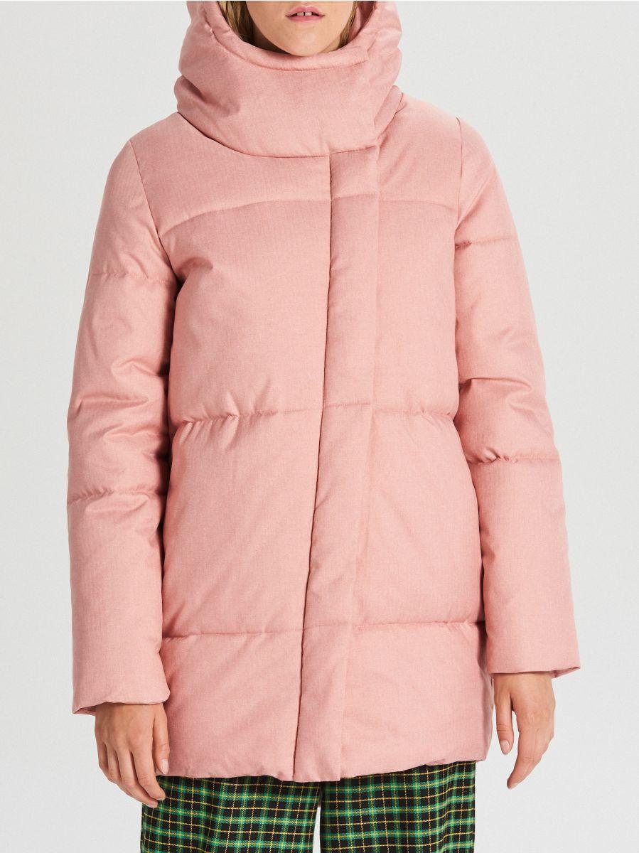 Prešívaná bunda s kapucňou - Ružová - WG285-03X - Cropp - 4