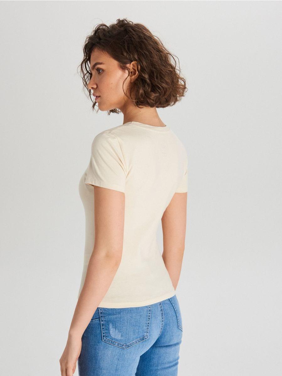 Hladké tričko - Krémová - WH168-02X - Cropp - 4