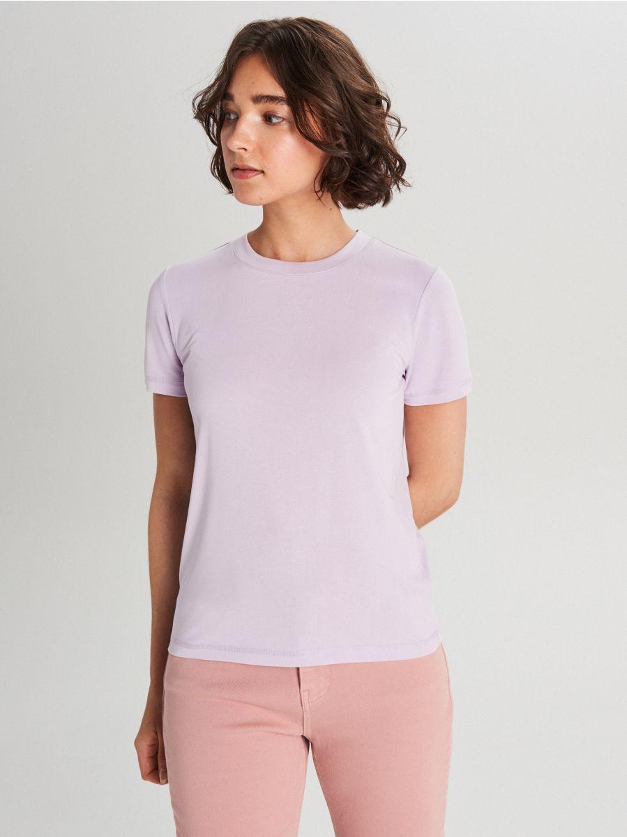 Hladké basic tričko - Purpurová - WK752-04X - Cropp - 1