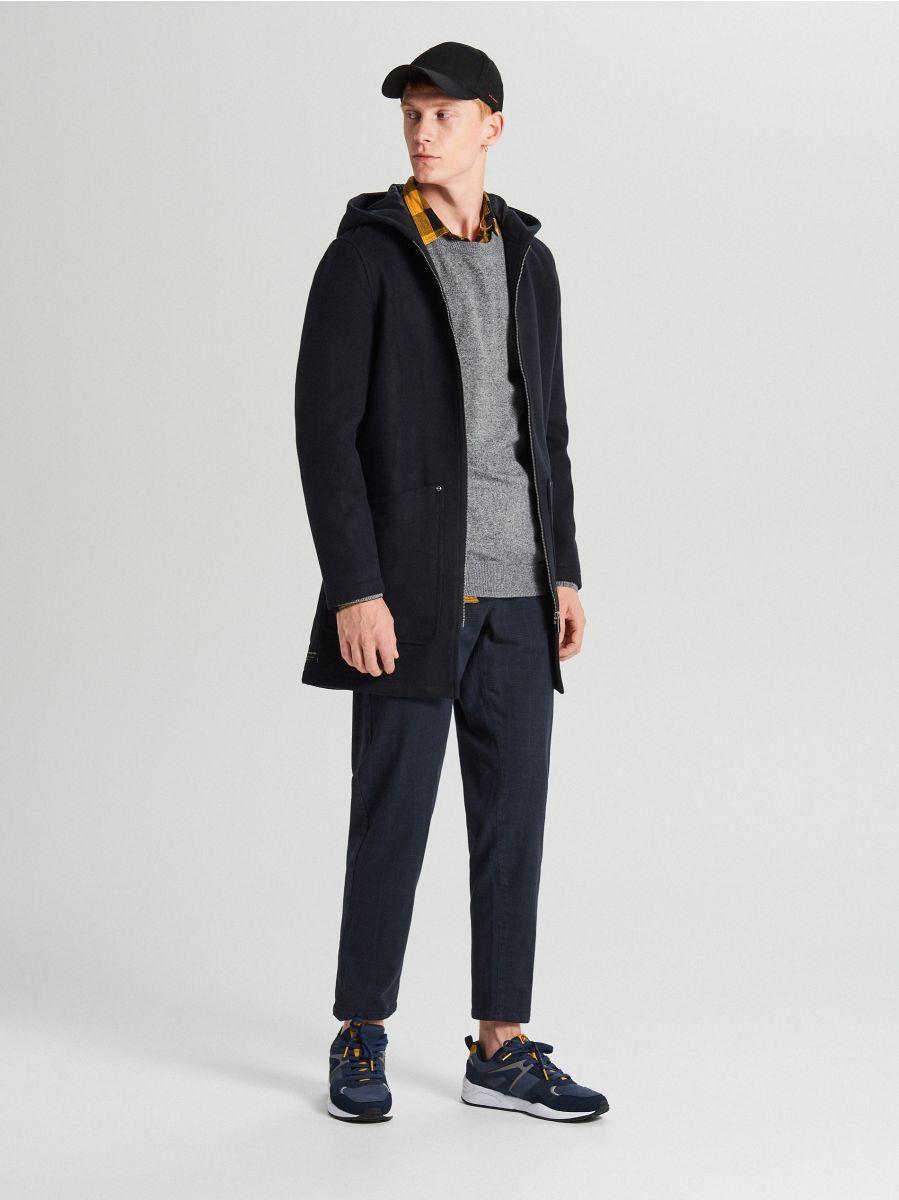 Ľahký kabát s kapucňou - Tmavomodrá - WL843-59X - Cropp - 2