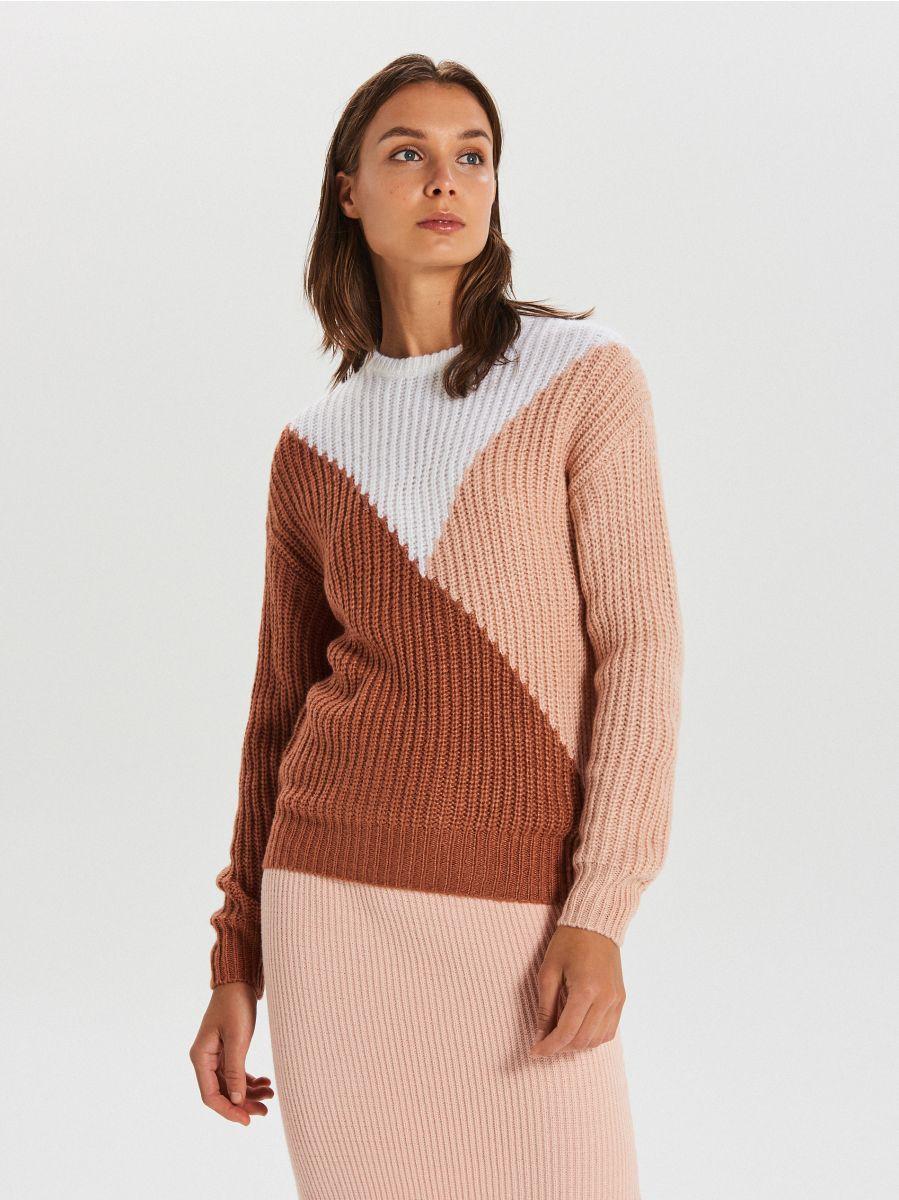 Viacfarebný sveter - Oranžová - WM681-28X - Cropp - 3