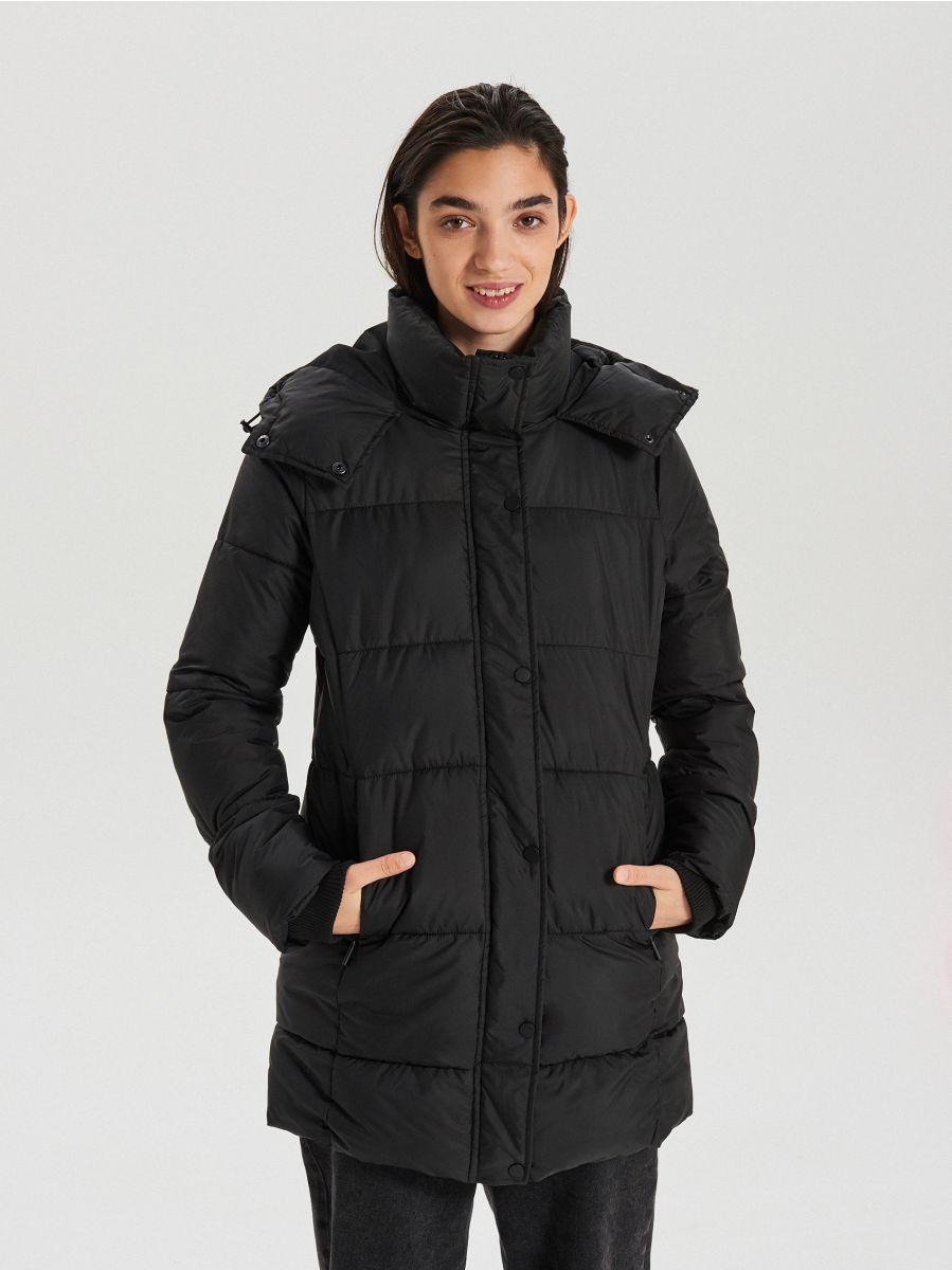 Prešívaný plášť s kapucňou - Čierna - WS172-99X - Cropp - 1