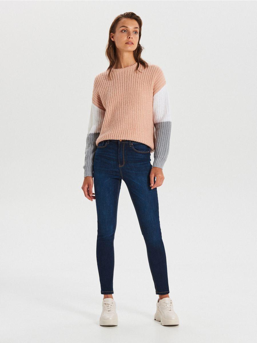 High waist džínsy - Tmavomodrá - WT530-59J - Cropp - 1