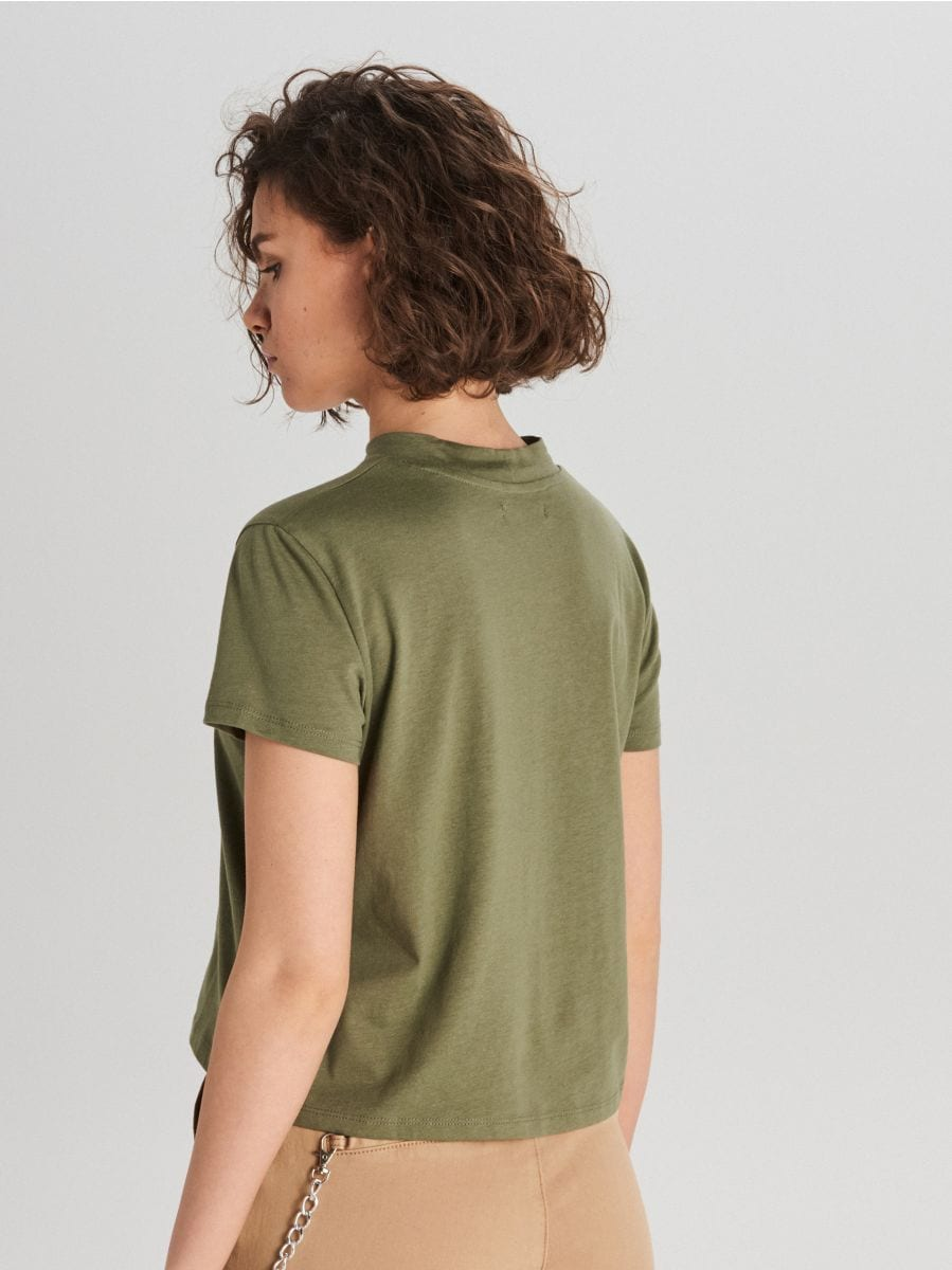 Hladké tričko - Khaki - WV244-78X - Cropp - 4