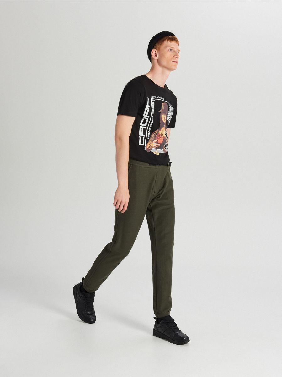 Teplákové joggery s opaskom - Khaki - WW365-87X - Cropp - 1