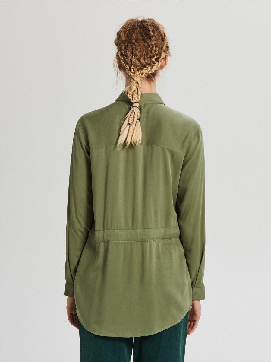 Košeľa so sťahovacím lemom - Khaki - WY846-87X - Cropp - 4