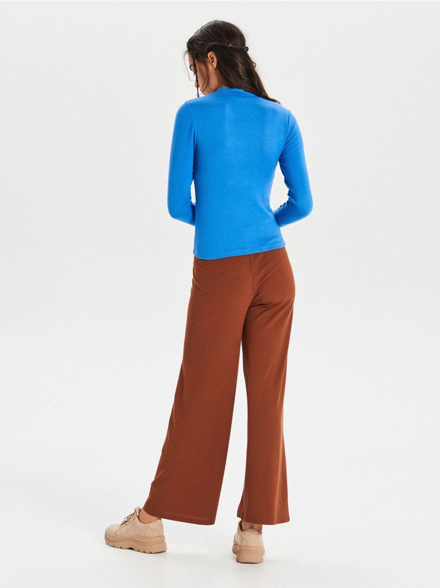 Hladký sveter so stojačikom - Modrá - WZ147-55X - Cropp - 4