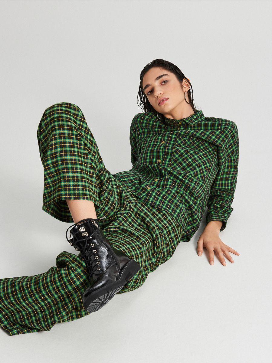 Kockovaná košeľa - Zelená - XF609-76X - Cropp - 3