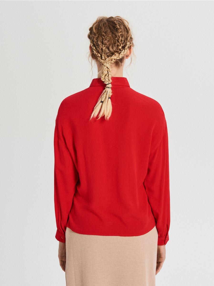 Oversize košeľa - Červená - XF612-33X - Cropp - 4