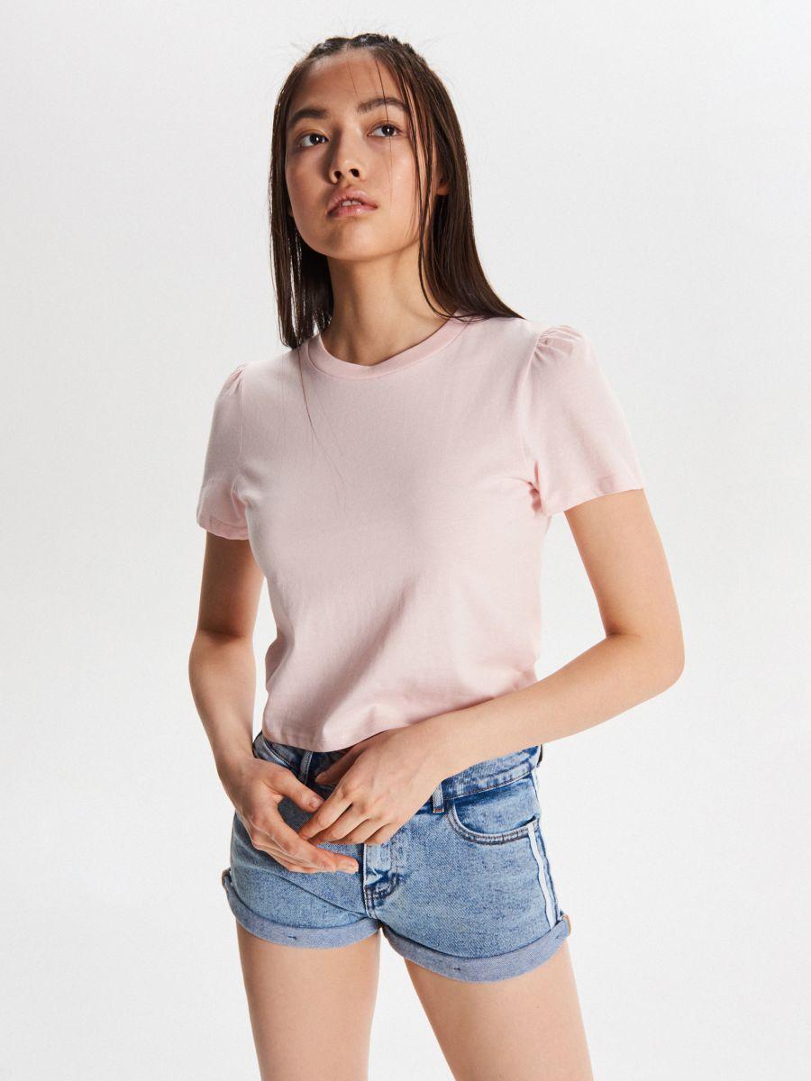 Tričko basic - Ružová - VY903-03X - Cropp - 1