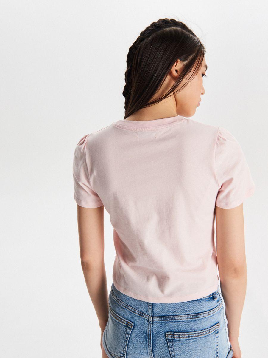 Tričko basic - Ružová - VY903-03X - Cropp - 3