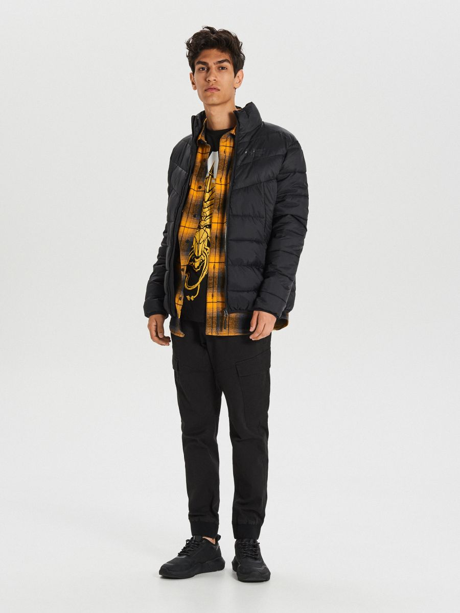 Prešívaná zimná bunda - Čierna - WA079-99X - Cropp - 2