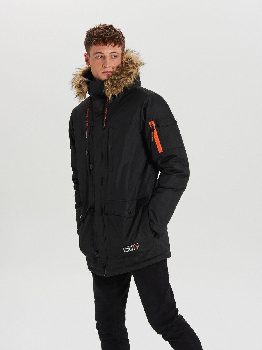 Zimná bunda s kapucňou - Čierna - WA084-99X - Cropp - 1