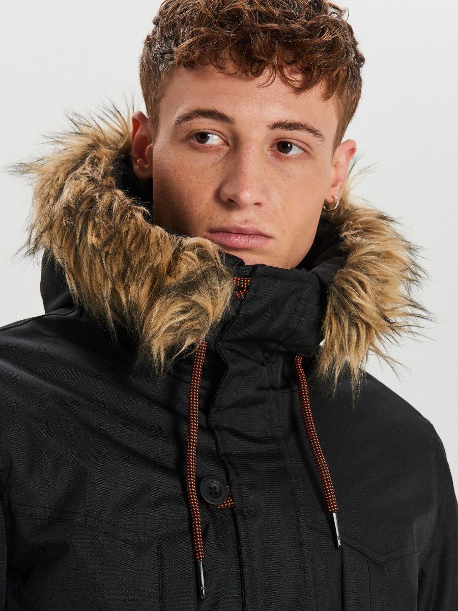 Zimná bunda s kapucňou - Čierna - WA084-99X - Cropp - 3