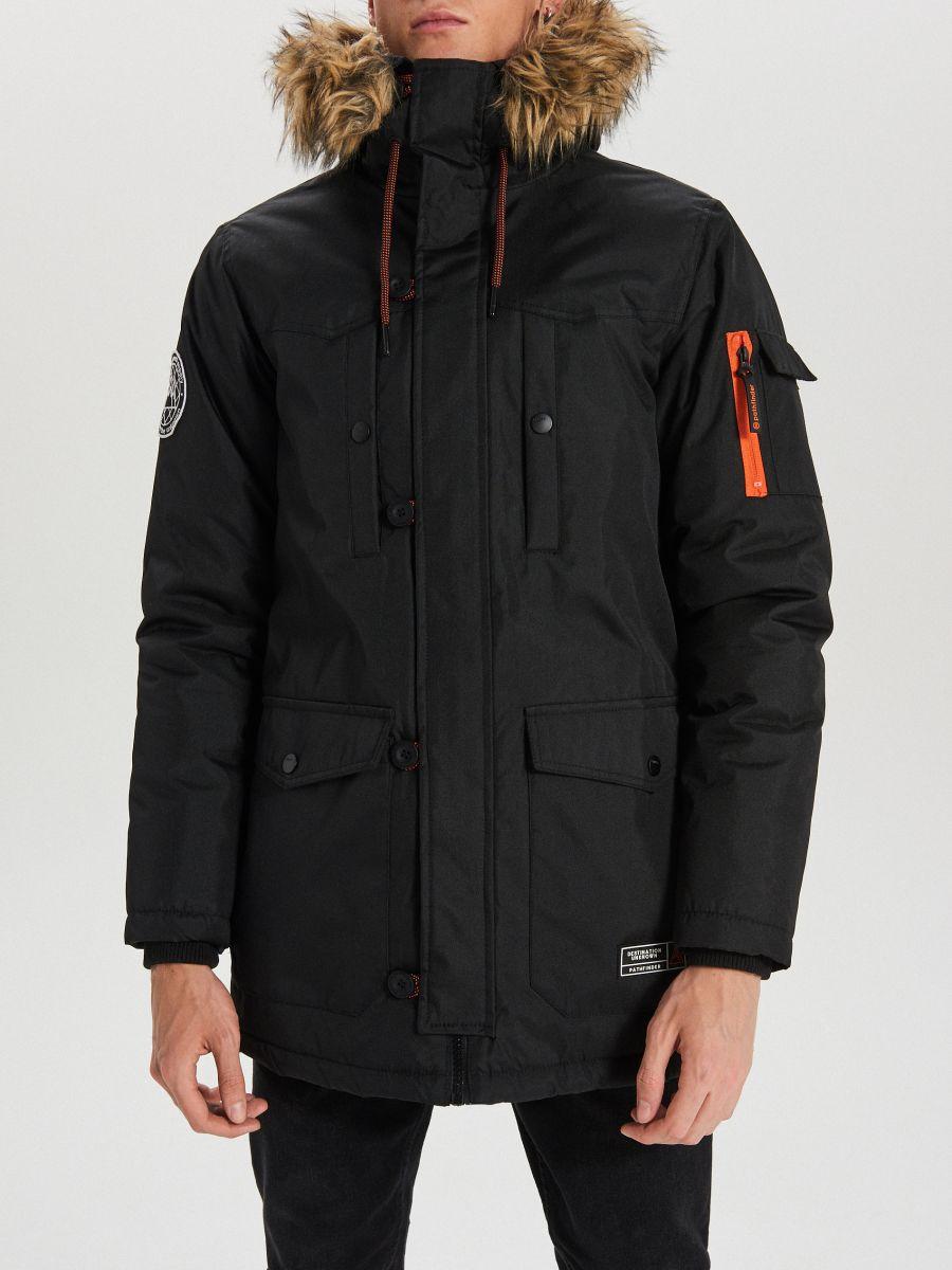 Zimná bunda s kapucňou - Čierna - WA084-99X - Cropp - 4