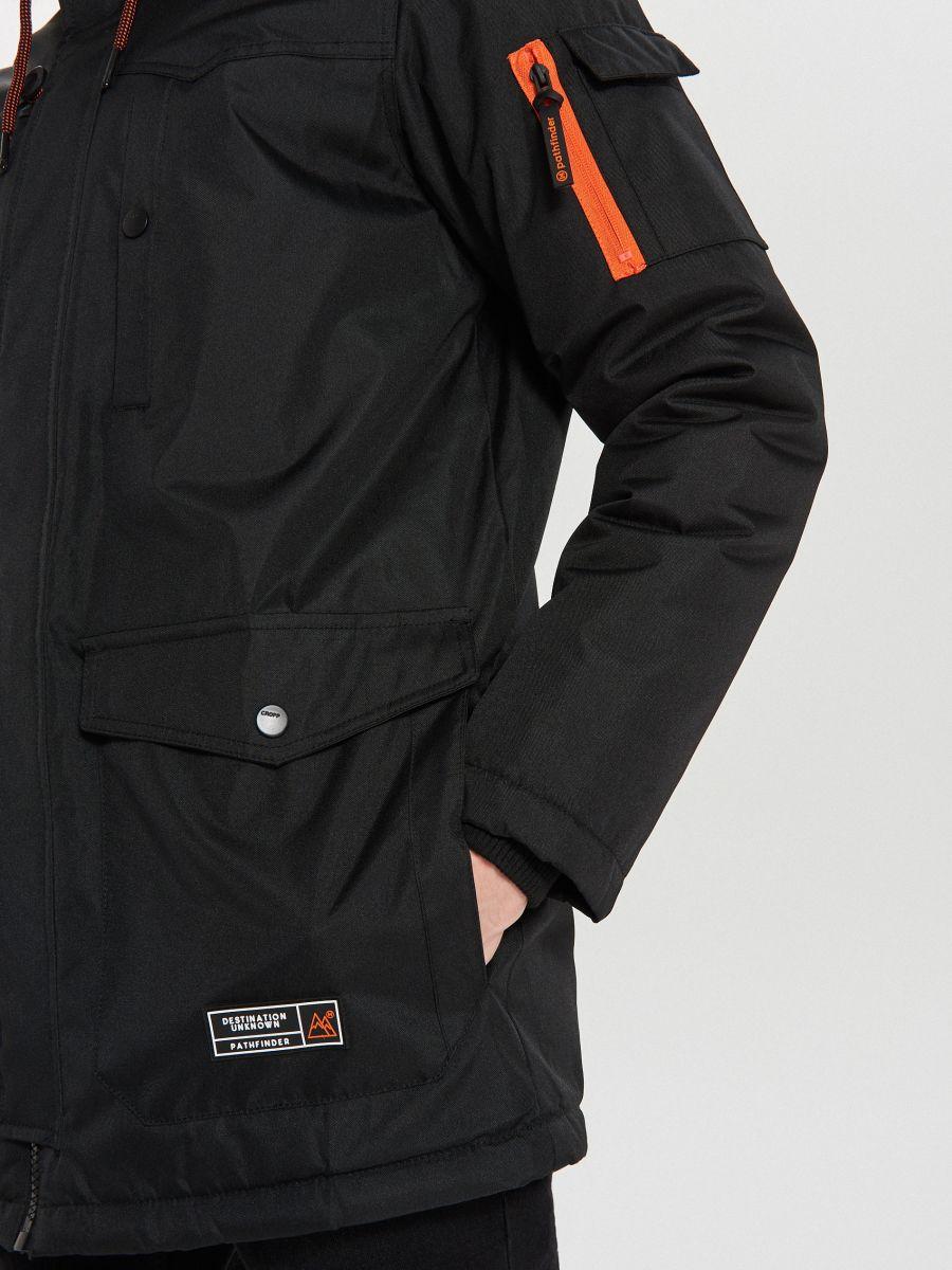 Zimná bunda s kapucňou - Čierna - WA084-99X - Cropp - 5