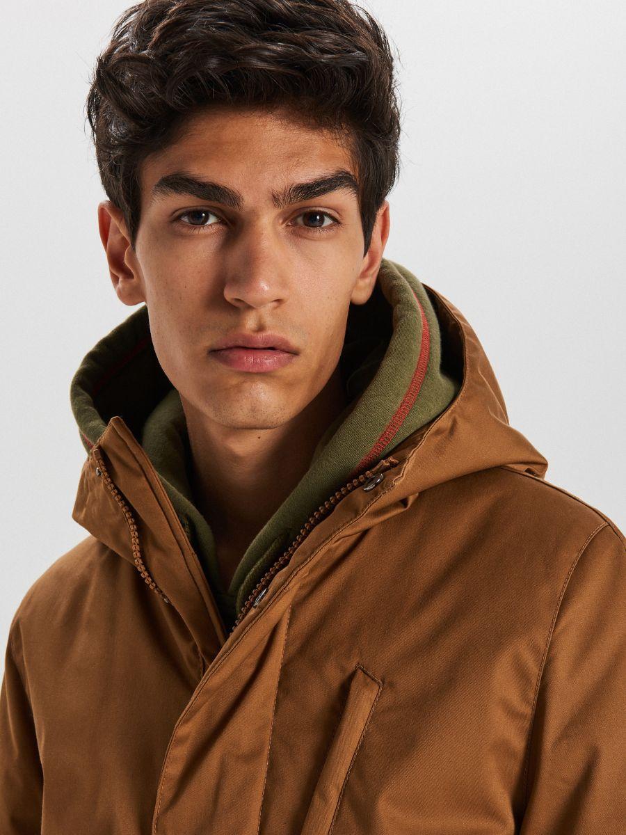 Športový kabát s kapucňou - Béžová - WA095-80X - Cropp - 3
