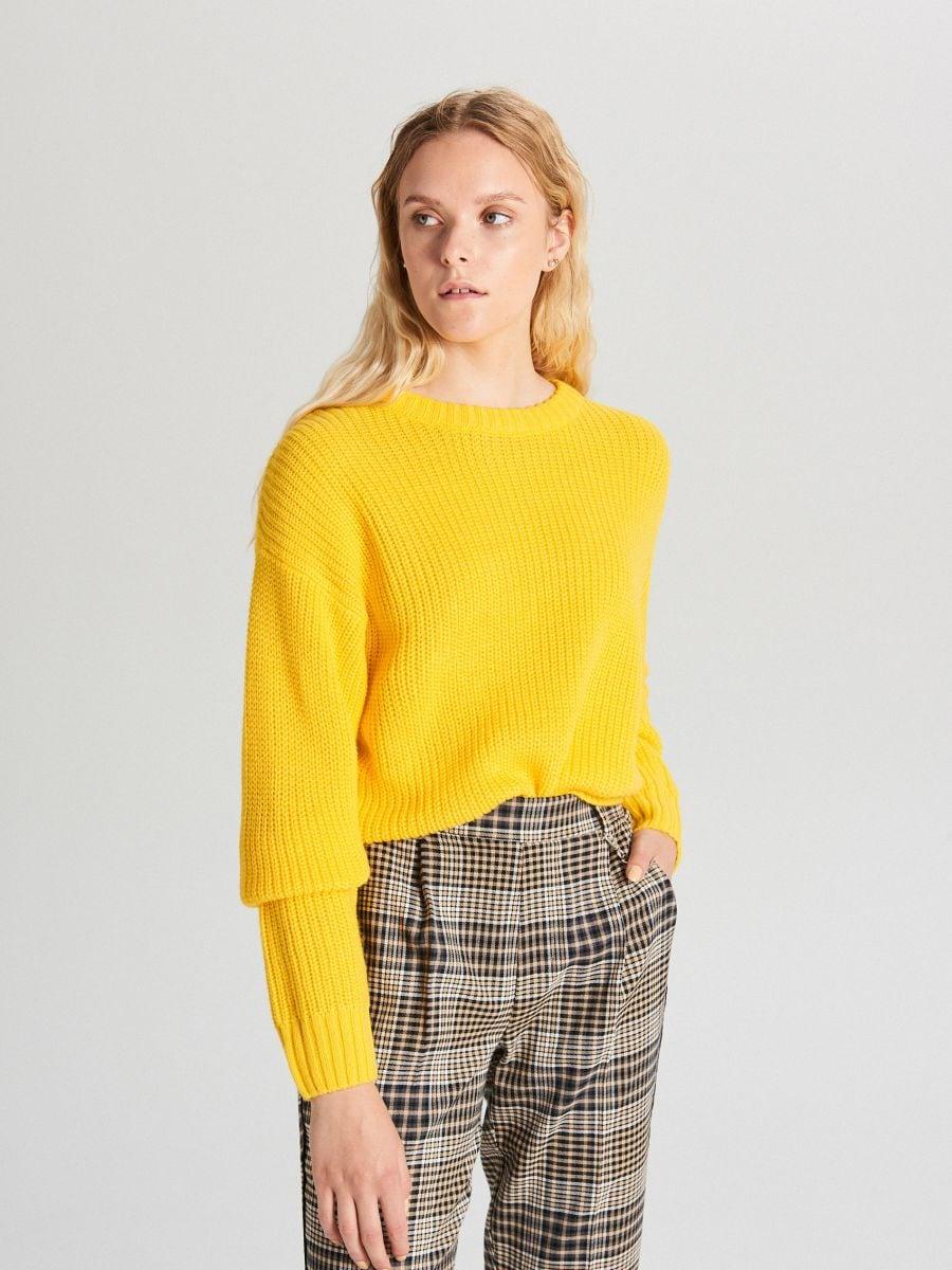Oversize sveter - Žltá - WB907-18X - Cropp - 2