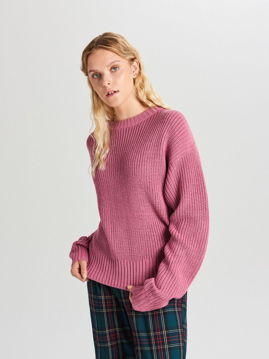 Oversize sveter - Purpurová - WB907-34X - Cropp - 1