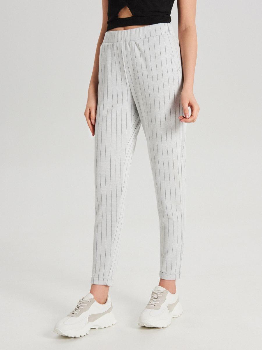Úpletové kárované nohavice - Krémová - WC044-01X - Cropp - 1