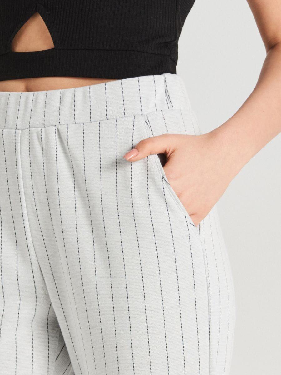 Úpletové kárované nohavice - Krémová - WC044-01X - Cropp - 3