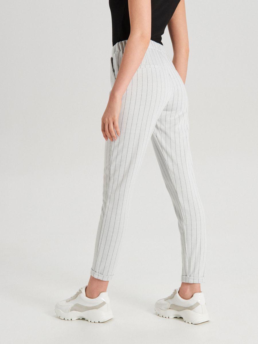 Úpletové kárované nohavice - Krémová - WC044-01X - Cropp - 4