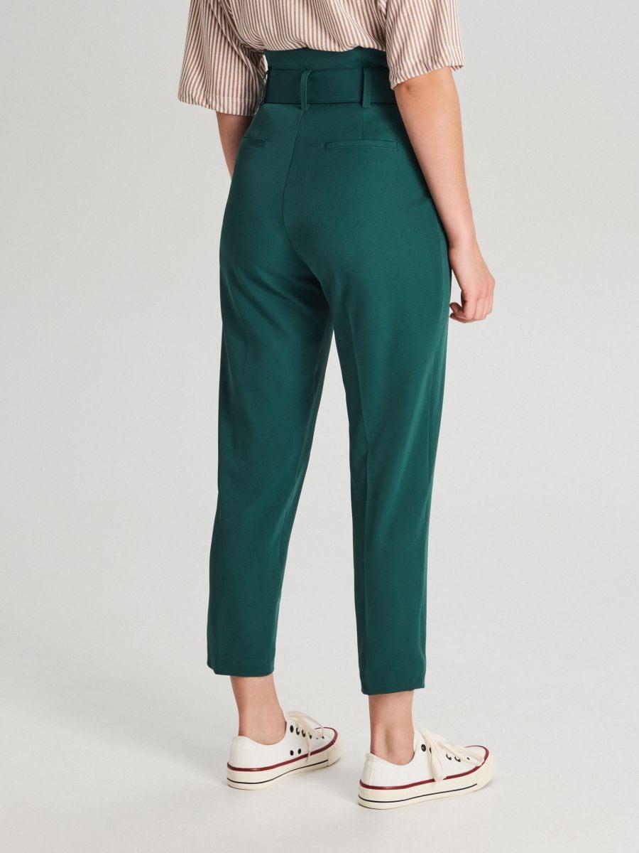Nohavice s vysokým pásom a opaskom  - Khaki - WC051-79X - Cropp - 3