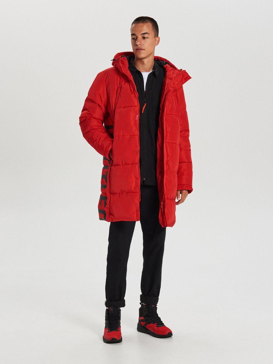 Prešívaný plášť s kapucňou - Červená - WC146-33X - Cropp - 1
