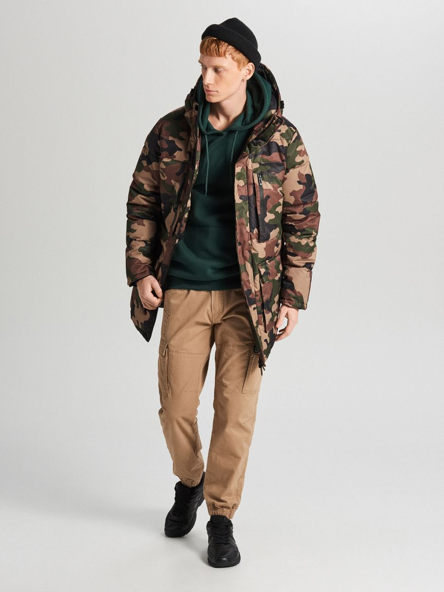 Športový kabát s kapucňou - Khaki - WC151-87X - Cropp - 1
