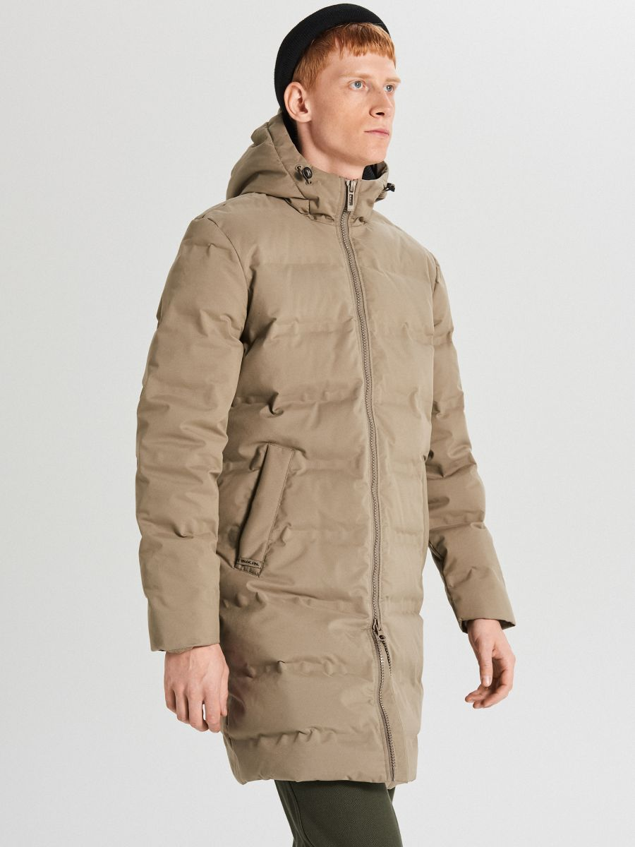 Páperový kabát s kapucňou - Béžová - WC154-08X - Cropp - 1
