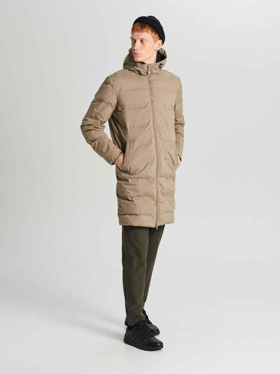 Páperový kabát s kapucňou - Béžová - WC154-08X - Cropp - 2