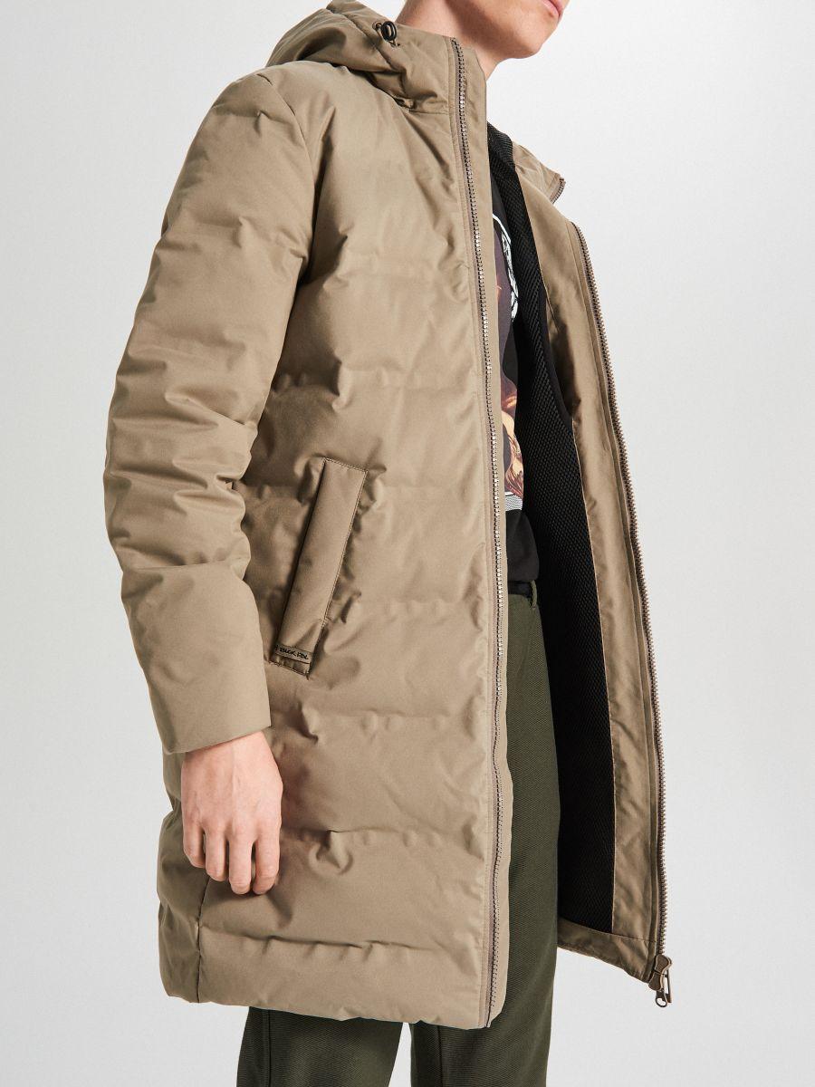 Páperový kabát s kapucňou - Béžová - WC154-08X - Cropp - 3
