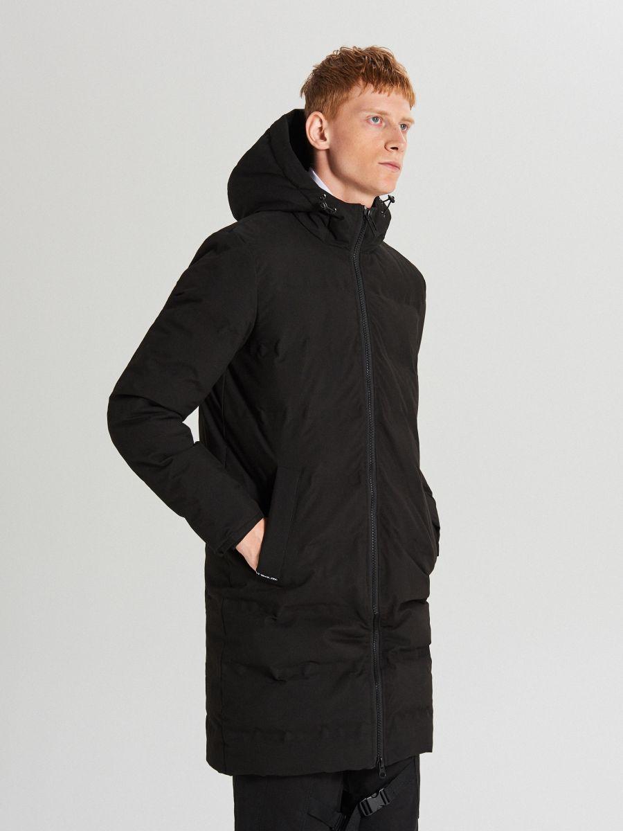 Páperový kabát s kapucňou - Čierna - WC154-99X - Cropp - 1