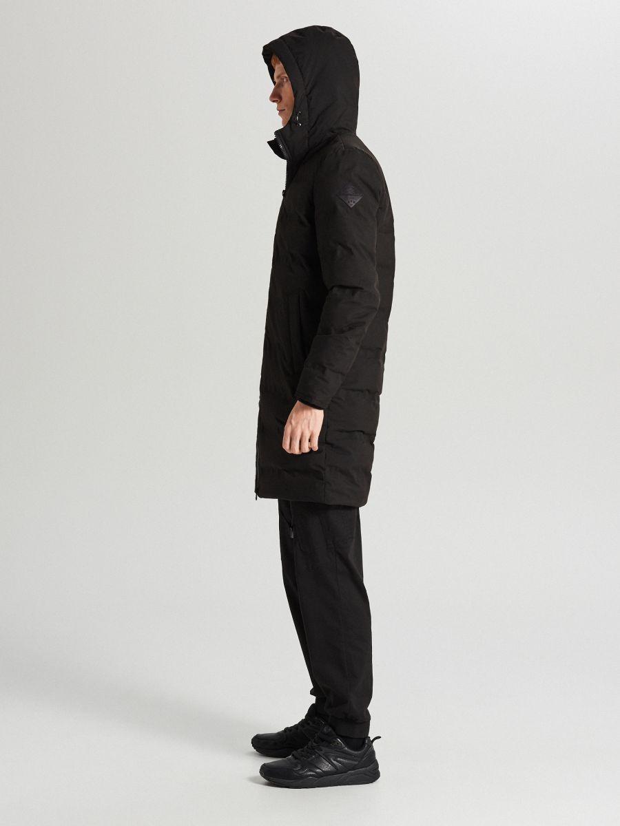 Páperový kabát s kapucňou - Čierna - WC154-99X - Cropp - 5