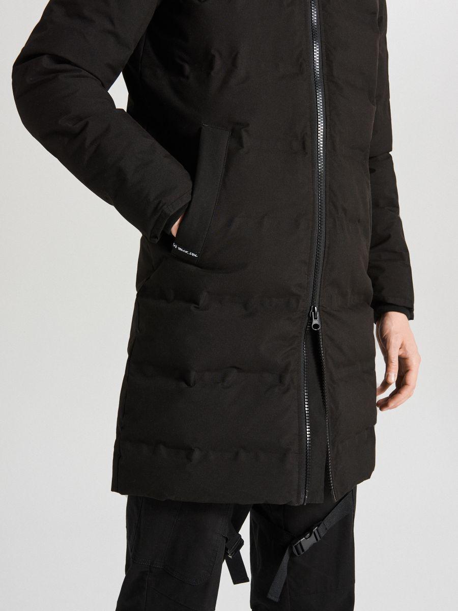 Páperový kabát s kapucňou - Čierna - WC154-99X - Cropp - 8