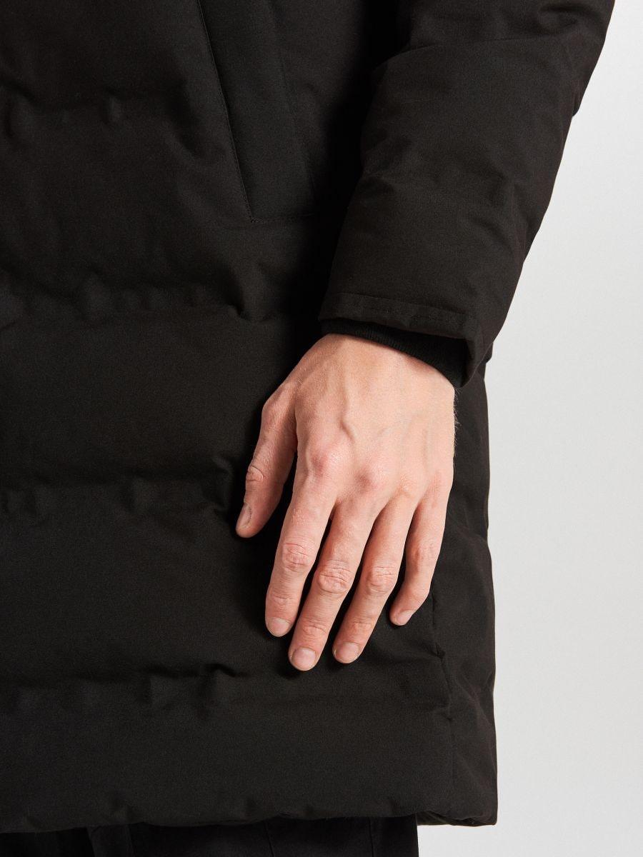 Páperový kabát s kapucňou - Čierna - WC154-99X - Cropp - 9
