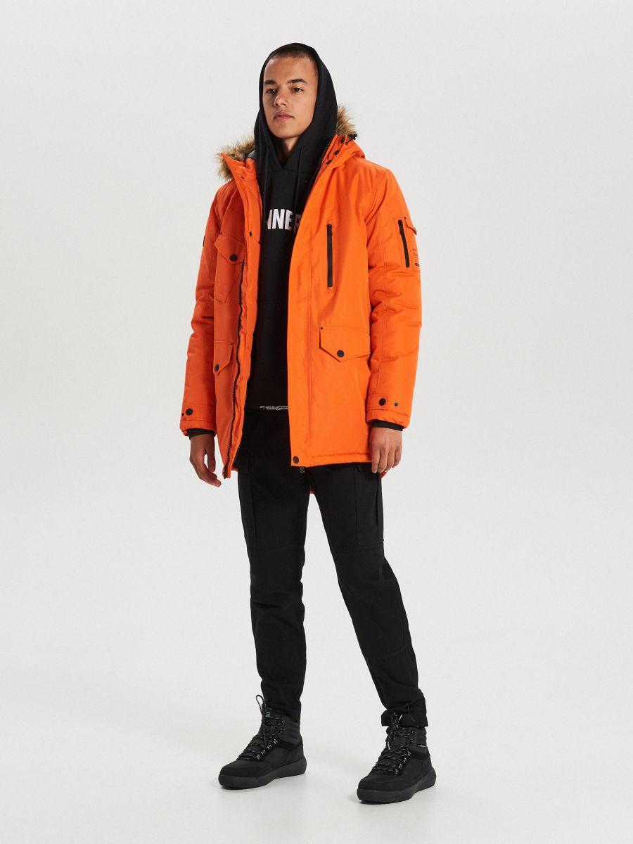 Teplá bunda s kapucňou z umelej kožušiny - Oranžová - WC156-22X - Cropp - 2