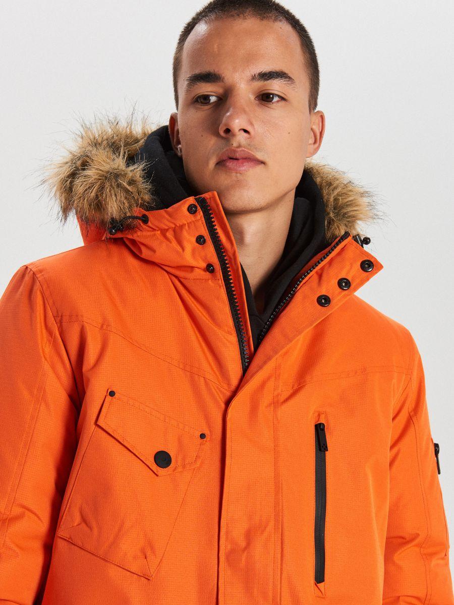 Teplá bunda s kapucňou z umelej kožušiny - Oranžová - WC156-22X - Cropp - 3