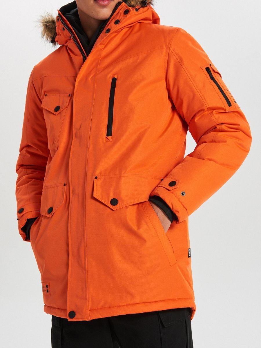 Teplá bunda s kapucňou z umelej kožušiny - Oranžová - WC156-22X - Cropp - 4