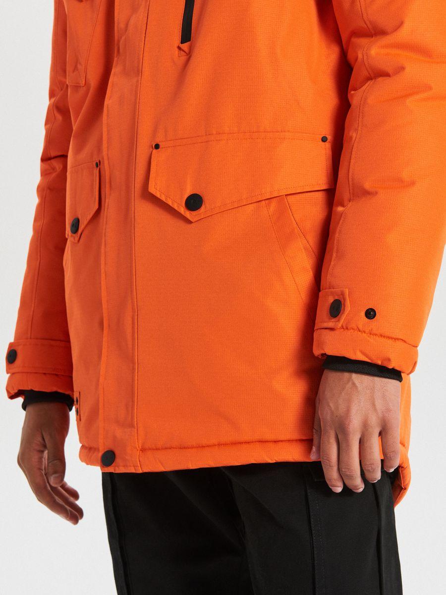 Teplá bunda s kapucňou z umelej kožušiny - Oranžová - WC156-22X - Cropp - 5