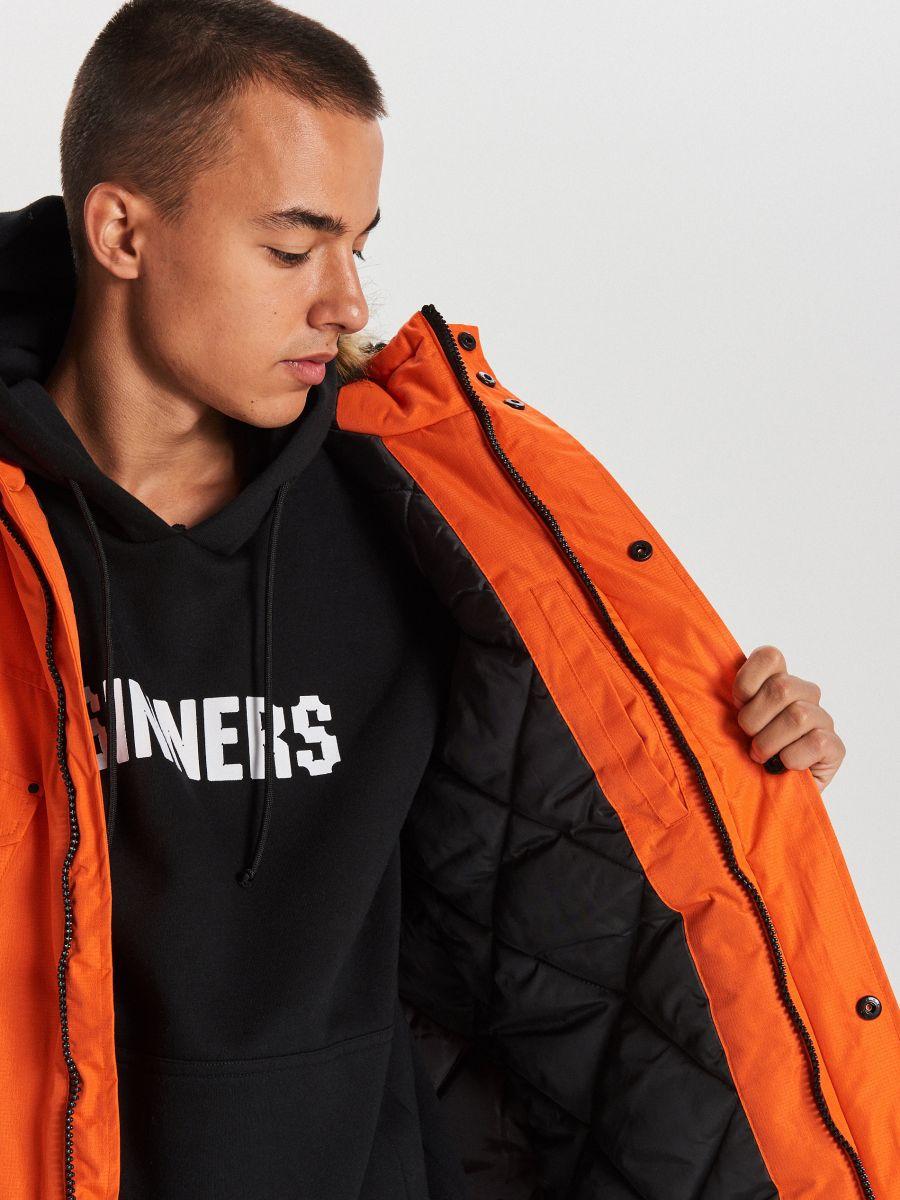 Teplá bunda s kapucňou z umelej kožušiny - Oranžová - WC156-22X - Cropp - 6