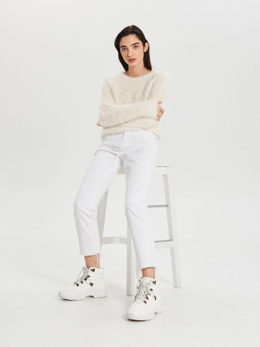 Huňatý sveter - Krémová - WC870-01X - Cropp - 1