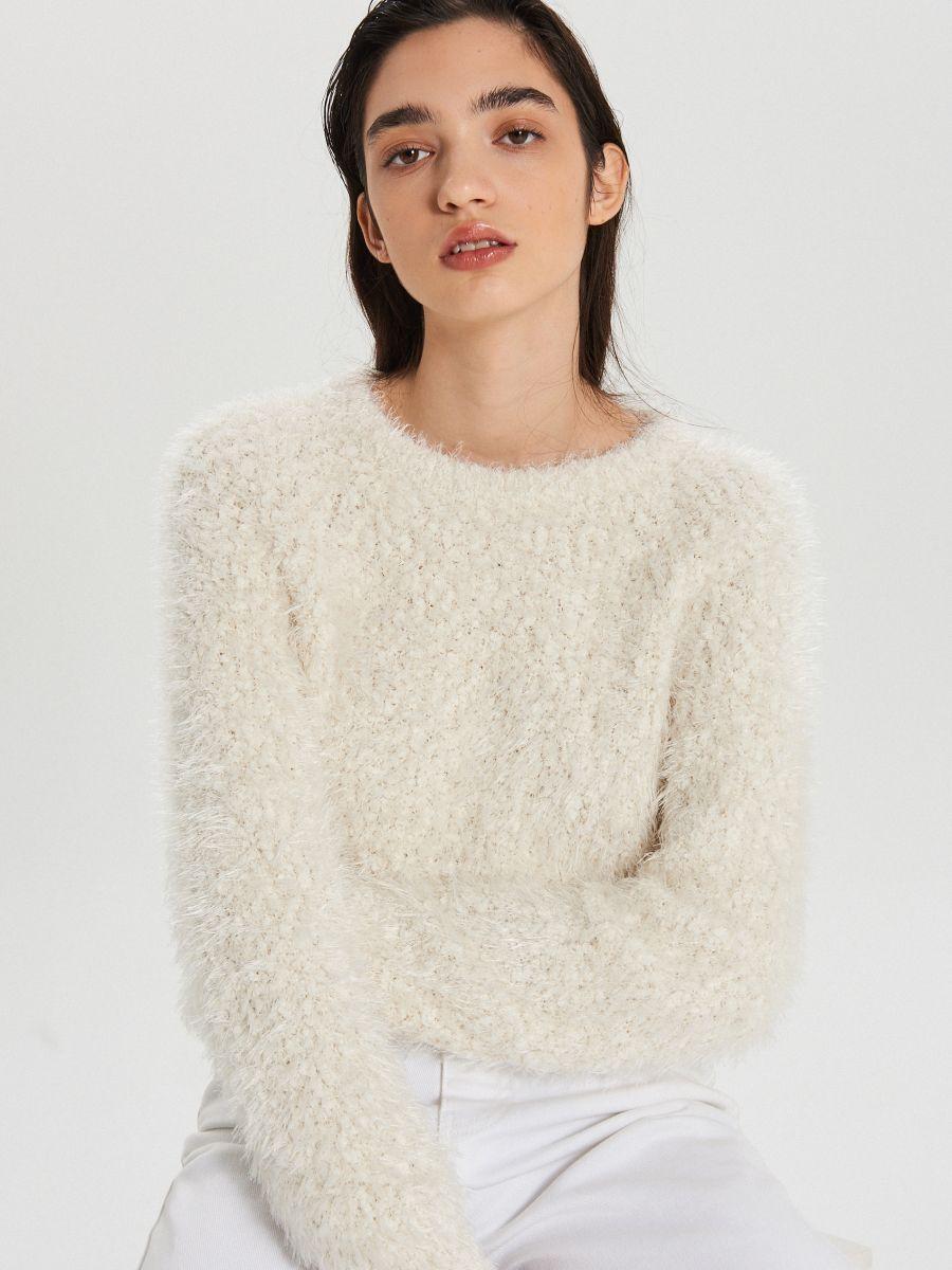 Huňatý sveter - Krémová - WC870-01X - Cropp - 2