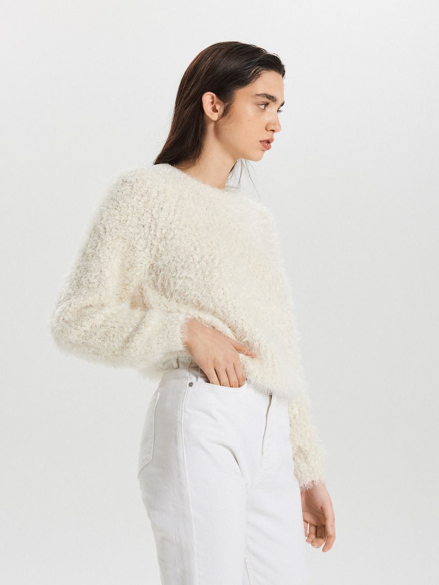 Huňatý sveter - Krémová - WC870-01X - Cropp - 4